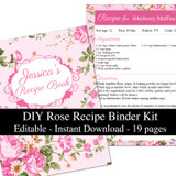 Pink Roses Printable Recipe Book Template Editable PDF