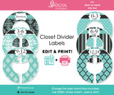 Turquoise & Black Printable Closet Dividers