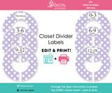 Purple Polka Dot Printable Closet Dividers