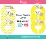 Yellow Elephant Printable Closet Dividers