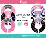 Pink & Purple Printable Closet Dividers