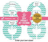 Aqua Chevron Printable Closet Divider Label Template
