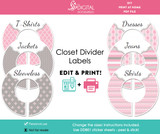 Pink & Gray Printable Closet Dividers