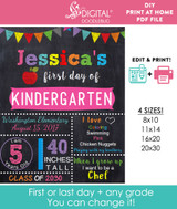 Editable Girls First Day of School Sign Printable Poster