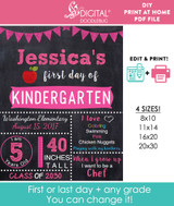 Editable Pink School Sign Printable Poster PDF & Corjl