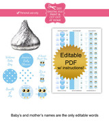 Blue Owl Printable Baby Shower Stickers