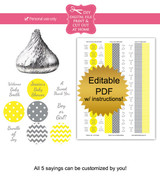 Yellow & Gray Printable Candy Stickers