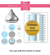 Blue Elephant Printable Baby Shower Stickers
