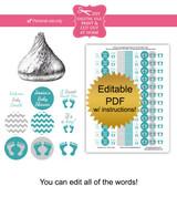 Teal & Gray Footprint Printable Stickers