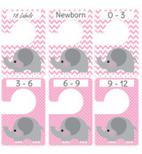 Pink & Gray Elephant Large Baby Closet Dividers