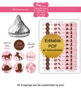 Cowgirl printable baby shower stickers