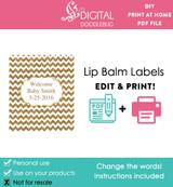 Gold glitter chevron editable lip balm label template PDF