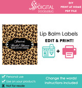 Leopard printable lip balm label template PDF