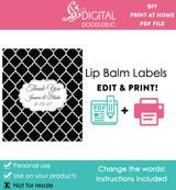 Black Quatrefoil Printable Lip Balm Labels