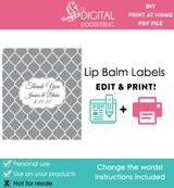 Gray Quatrefoil Printable Lip Balm Labels