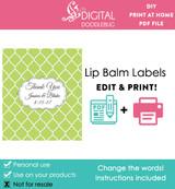 Green Quatrefoil Printable Lip Balm Labels