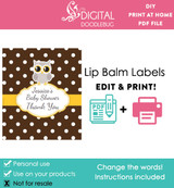 Gray Owl Printable Lip Balm Labels