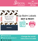 Printable lip balm label favors western cowboy baby shower for boys