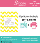 Elephant Yellow Printable Lip Balm Labels
