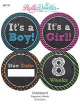 Chalkboard 36 Weekly Pregnancy Stickers