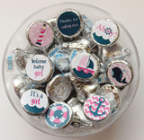 Nautical themed girl baby shower favor stickers