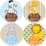 "It's a boy! 2"" safari animals baby shower stickers"