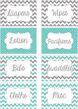 Teal & Gray chevron printable nursery drawer labels