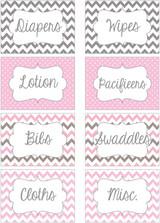 Light Pink & Gray chevron printable nursery drawer labels