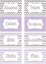 Purple & Gray chevron printable nursery drawer labels