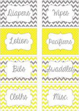 Yellow & Gray chevron printable nursery drawer labels