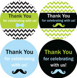 """2"""" thank you for celebrating with us! Little man baby shower stickers"""