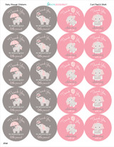Peel and stick thank you stickers for a DIY baby shower favor