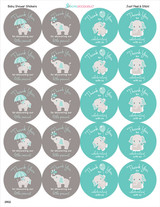 "2"" baby shower stickers for favors"