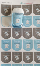 Blue elephant theme baby shower stickers