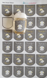 Hand Sanitizer labels yellow elephant 30 stickers