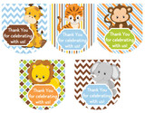 Hand Sanitizer labels safari animals 30 stickers