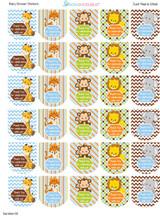 Hand Sanitizer labels safari animals 30 stickers