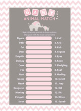 Animals Match baby shower game set of 25 Pink Elephant