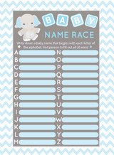 Name Race baby shower game set of 25 Blue Elephant