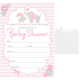 5x7 Fill in the blank baby shower invitations pink elephant invites for a girl