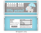 Blue elephant candy bar wrappers baby shower favors for boy