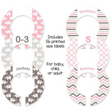 Pink and gray elephants closet dividers for organizing your baby girl nursery.