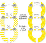 Yellow and gray baby closet dividers for a gender neutral baby shower gift.