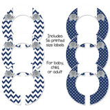 Navy blue and gray baby closet dividers for a boys baby shower gift.