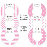 Pink baby closet dividers for a girl baby shower gift.