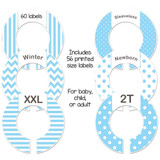 Blue baby closet dividers for a boys baby shower gift.