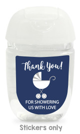 Navy Hand Sanitizer labels baby shower 30 stickers