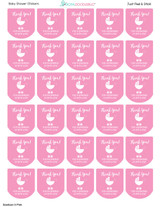 baby shower favor labels pink for girls