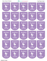 girls baby shower favor stickers purple