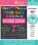 Back to school DIY printable sign for girls